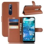 Litchi Skin PU Leather Magnetic Shell for Nokia 7.1 – Brown