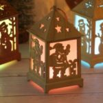 Wood House Tree Hanging Ornaments Festival Holiday Nice Xmas Gift Gradient Color LED Light – Santa Claus