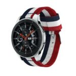 For Samsung Galaxy Watch 46mm Adjustable Nylon Replacement Watch Strap, Width: 22mm – Blue / White / Red