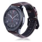 22mm Universal Cowhide Leather Watch Band for Samsung Gear S3 Classic/Frontier etc – Glossy / Brown