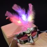 Feather LED Mask Luminous Masquerade Mask Halloween Masquerade Cosplay Costume – Silver