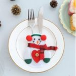 Christmas Kitchen Dinner Table Cutlery Knife Fork Holder Bag – Snowman with Red Heart