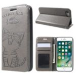 Imprint Cat and Fish Bone Wallet Leather Phone Case for iPhone 8 / 7 – Grey