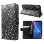 Glittery Powder Flower Wallet PU Leather Magnetic Cover for iPhone XR 6.1 inch – Black