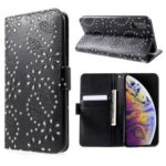 Glittery Powder Flower Wallet PU Leather Magnetic Cover for iPhone XS Max 6.5 inch – Black