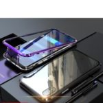 Magnetic Attraction Metal Frame + Tempered Glass Back Case for iPhone XS / X 5.8 inch – Purple
