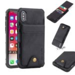 Vertical Flip PU Leather Coated Card Holder PC TPU Hybrid Phone Case for iPhone XS 5.8 inch – Black