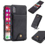 Vertical Flip PU Leather Coated Card Holder PC TPU Hybrid Phone Case for iPhone XS 5.8 inch – Black