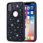 Shockproof Glitter Powder Leather Coated PC TPU Hybrid Back Case for IPhone XS Max 6.5 inch – Black