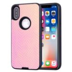 Snake Texture PU Leather Coated TPU + PC Hybrid Case for iPhone XS 5.8 inch – Pink