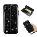 Colorful Series Flash Powder PU Leather + TPU Hybrid Case for iPhone X / XS 5.8 inch – Black