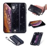 Colorful Series Flash Powder PU Leather + TPU Hybrid Case for iPhone XR 6.1 inch – Black