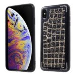 Grid Pattern Glittering Sequins TPU Metal Phone Cover for iPhone XS Max 6.5 inch – Black