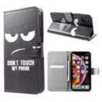Pattern Printing Leather Wallet Case for iPhone XR 6.1 inch – Do not Touch My Phone