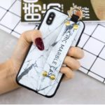 Marble Pattern Printing TPU Back Shell for iPhone XS/X – Grey
