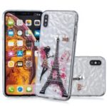 Embossed Pattern [3D Diamond Texture] TPU Phone Case for iPhone XS Max 6.5 inch – Eiffel Tower
