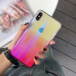 Laser Wave Pattern Gradient Color PC Phone Case for iPhone XS / X 5.8 inch – Pink