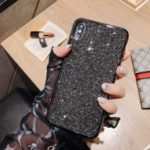 Electroplating Rhinestone Decoration Soft TPU Case for iPhone XS Max 6.5 inch – Black