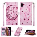 For iPhone XS 5.8 inch Leather Case [Imprinted Moon Pattern] [Marble Style] – Rose
