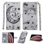 Leather Phone Case for iPhone XR 6.1 inch [Marble Style] [Imprinted Moon Pattern] – Grey