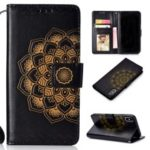 Imprinted Mandala Pattern Leather Wallet Case for iPhone XS Max 6.5 inch – Black