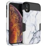 For iPhone XR 6.1 inch White Marble Pattern 3-Piece Drop-proof PC Silicone Combo Phone Case – Black