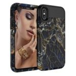 For iPhone XS Max 6.5 inch 3-in-1 [Marble Pattern] PC Silicone Hybrid Drop-proof Case – Black