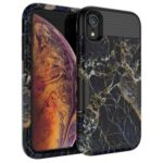 3-in-1 Case for iPhone XR 6.1 inch Marble Pattern PC Silicone Hybrid Drop-proof Case – Black