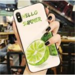 For iPhone XS Max 6.5 inch Fruit Pattern Tempered Glass and TPU Hybrid Case – Lemon
