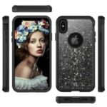 Glitter Powder Heavy Duty Rugged PC Silicone Hybrid Case for iPhone XS Max 6.5 inch – Black