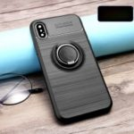 Finger Ring Kickstand Brushed TPU Mobile Case for iPhone XS/X (Built-in Magnetic Metal Sheet) – Black