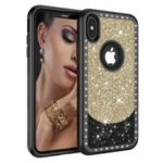3-in-1 Flash Powder [Diamond] PC Silicone Drop-proof Cover for iPhone XS Max 6.5 inch – Gold / Black