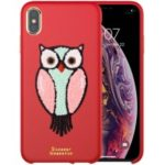 NILLKIN Plush PU Leather Coated Hard Plastic Shell for iPhone XS Max 6.5 inch – Red
