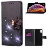 Rhinestone Decor Imprint 3D Flower PU Leather Flip Case for iPhone XS Max 6.5 inch – Black