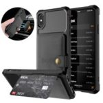 Leather Coated TPU Wallet Kickstand Casing with Built-in Magnetic Sheet for iPhone XS Max 6.5 inch – Black