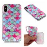 Pattern Printing Matte Surface IMD TPU Case for iPhone XS/X 5.8 inch – Fish Scale
