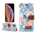 Flower Cloth Skin PU Leather Stand Card Holder Case for iPhone XS 5.8 inch – Blue