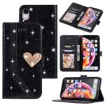 [Heart Shape Magnetic Flap] Flash Powder Splicing Leather Case for iPhone XR 6.1 inch – Black