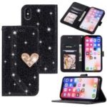 Mobile Case for iPhone XS 5.8 inch [Heart Shape Magnetic Flap] [Flash Powder] [Splicing Leather] – Black