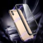 ROCK for iPhone XS 5.8 inch Magnetic Adsorption Metal Frame + Tempered Glass Back Hybrid Cover – Black