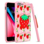 IMAK Stereoscopic TPU Cell Phone Case for iPhone 8 Plus / 7 Plus 5.5 inch – Strawberry