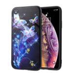 Embossment Pattern PC TPU Hybrid Case for iPhone XR 6.1 inch – Butterfly and Flower Pattern