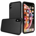 Kevlar Series Carbon Fiber Texture TPU Back Cover for iPhone XS Max 6.5 inch – Black