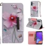 Pattern Printing Cross Texture Leather Wallet Case for Samsung Galaxy A7 (2018) – Pink Flowers