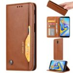 PU Leather Auto-absorbed Stand Wallet Phone Case for Samsung Galaxy J6+ / J6 Prime / J610 – Brown