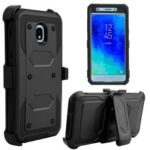 Heavy Duty Rugged PC TPU Hybrid Belt Clip Kickstand Case for Samsung Galaxy J7 (2018) – All Black