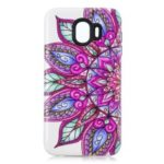 [Embossed Pattern] PC TPU Hybrid Case for Samsung Galaxy J4 (2018) – Half Flower