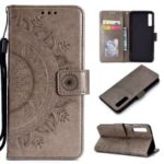 Imprinted Mandala Pattern Wallet Leather Mobile Case for Samsung Galaxy A7 (2018) A750 – Grey