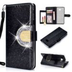 Glitter Powder Rhinestone Decoration Wallet Leather Case with Mirror for Samsung Galaxy J4+ / J4 Prime / J415 – Black