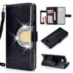 Glitter Powder Rhinestone Decoration Wallet Leather Case with Mirror for Samsung Galaxy J4+ / J4 Prime / J415 – Black